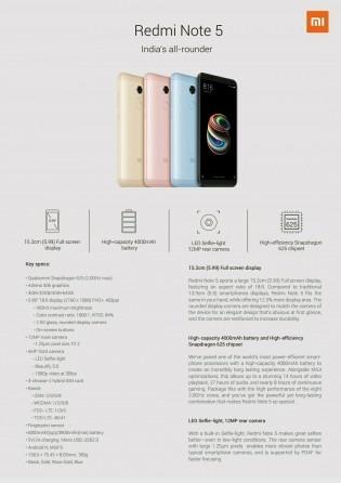 Xiaomi Redmi Note 5 specs sheet