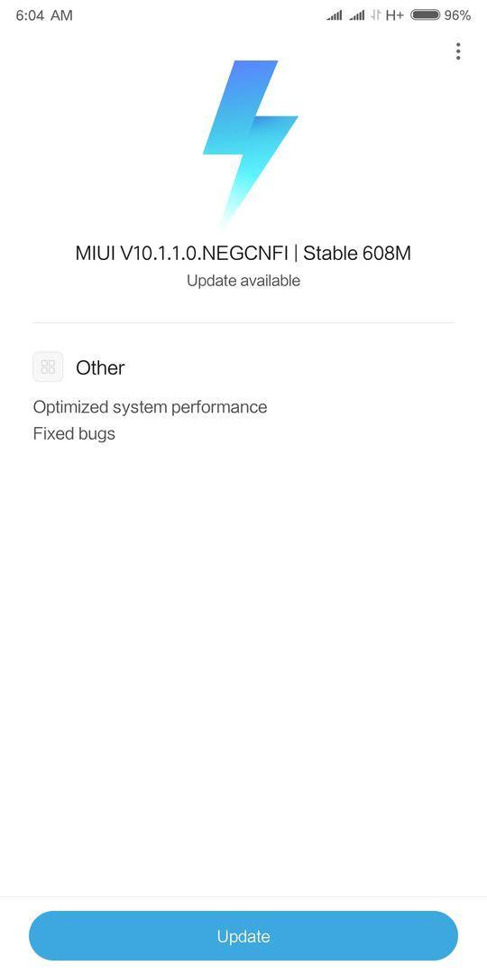 MIUI 10.1.1.0 NEGCNFI Stable